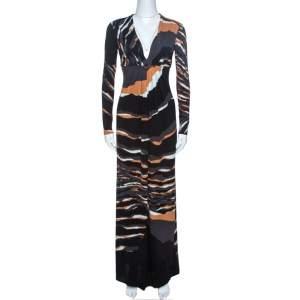 Roberto Cavalli Multicolor Stretch Jersey Draped V Neck Maxi Dress S