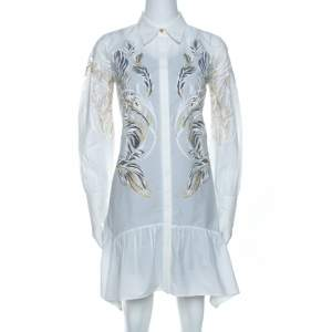 Roberto Cavalli White Brasso Feather Print Cotton Shirt Dress S