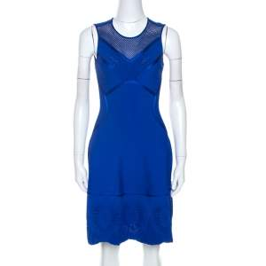 Roberto Cavalli Blue Embossed Jacquard Knit Fitted Dress S