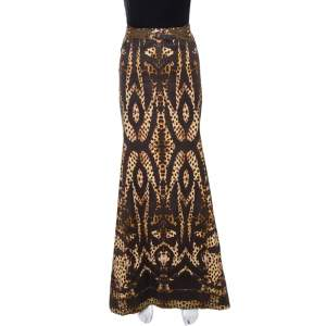 Roberto Cavalli Brown Print Cotton Belted Flared Maxi Skirt M