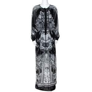 Roberto Cavalli Monochrome Floral Print Silk Kaftan Tunic S