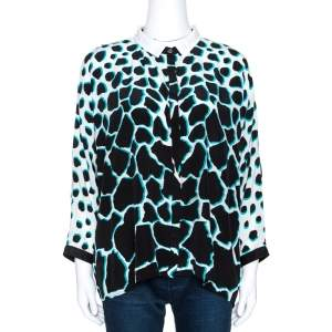 Roberto Cavalli Black Animal Print Silk Dolman Sleeve Shirt M