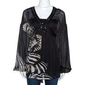 Roberto Cavalli Black Animal Print Silk Embellished Neck Tie Back Blouse S
