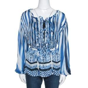 Roberto Cavalli Blue and White Deco Print Silk Tie Up Blouse M