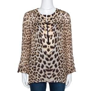 Roberto Cavalli Brown Leopard Print Silk Long Sleeve Blouse M
