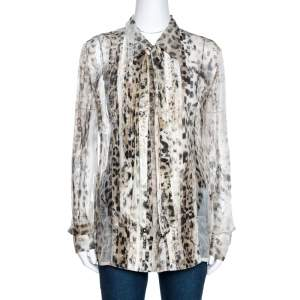 Roberto Cavalli Beige Animal Print Silk Pleated Sheer Shirt L