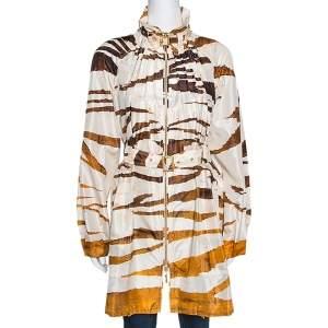 Roberto Cavalli Cream Zebra Print Silk Belted Coat M