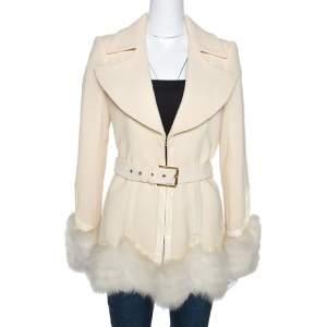 Roberto Cavalli Cream Wool Fox Fur Trim Belted Jacket M