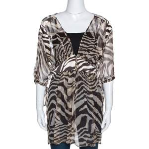 Roberto Cavalli Brown Animal Print Silk Sheer Kaftan Top L