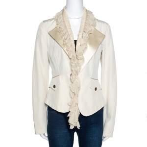 Roberto Cavalli Cream Cotton Blend Ruffle Detail Jacket M