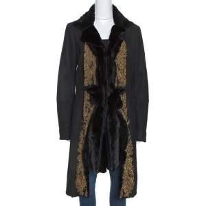 Roberto Cavalli Black Embellished Shearling Fur Lined Coat M
