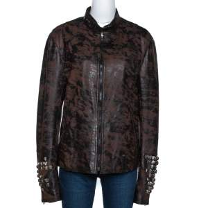Roberto Cavalli Brown Printed Effect Calf Leather Zip Front Jacket XL
