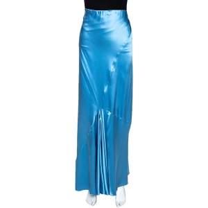 Roberto Cavalli Powder Blue Satin Silk Flared Maxi Skirt L