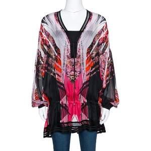 Roberto Cavalli Pink Silk & Contrast Knit Trim Printed Tunic L