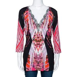 Roberto Cavalli Black Floral Print Jersey Lace Trim Top L