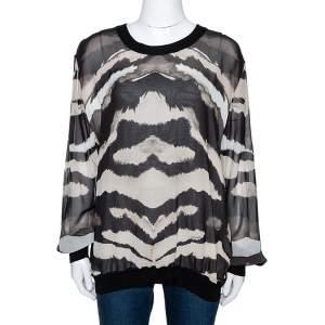 Roberto Cavalli Black Printed Silk & Knit Paneled Jumper L