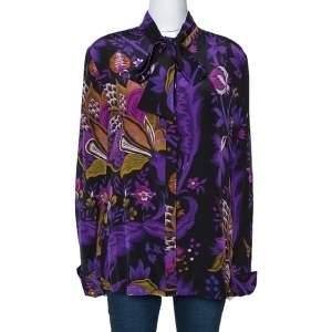 Roberto Cavalli Purple Floral Print Silk Neck Tie Detail Blouse L