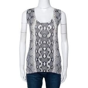 Roberto Cavalli Grey Snake Printed Knit Scoop Neck Top M