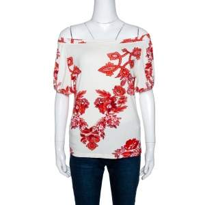 Roberto Cavalli White and Red Floral Print Off Shoulder Top L