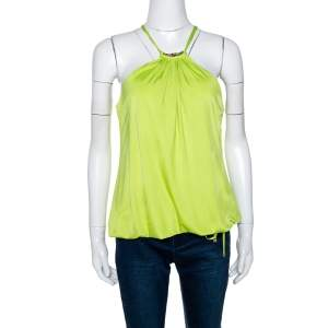 Roberto Cavalli Lime Green Jersey Halter Neck Top L