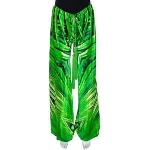 Roberto Cavalli Green Printed Silk Tassel Tie Detail Harem Pants S