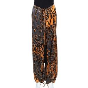 Roberto Cavalli Orange & Graphite Leopard Printed Silk Pants M