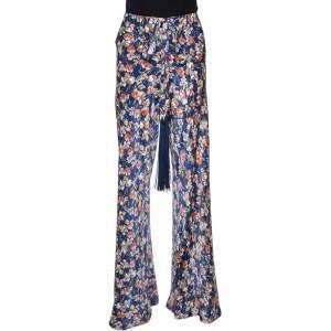 Roberto Cavalli Navy Blue Floral Printed Silk Pants L