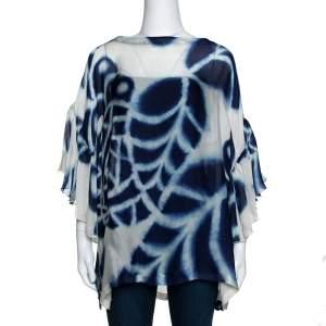 Roberto Cavalli Navy Blue & White Printed Silk Boat Neck Top L