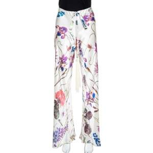 Roberto Cavalli Cream Floral Printed Silk Flared Pants M