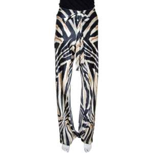 Roberto Cavalli Two Tone Animal Printed Silk Pants M