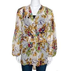 Roberto Cavalli Multicolor Silk Georgette Floral Print Faux Wrap Blouse M