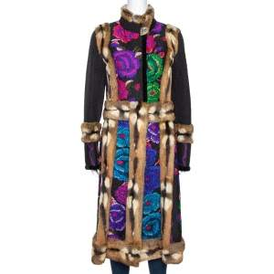 Roberto Cavalli Multicolor Printed Wool Blend & Fur Lined Mid Length Jacket M