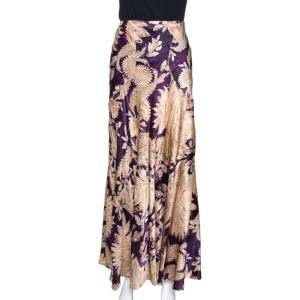Roberto Cavalli Imperial Purple Floral Printed Silk Flared Skirt L