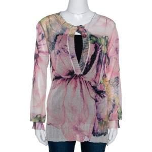 Roberto Cavalli Pale Pink Printed Lurex Knit Sheer Blouse L