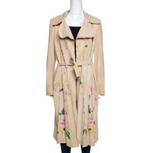 Roberto Cavalli Beige Suede Floral Painted Effect Belted Mid Length Coat M