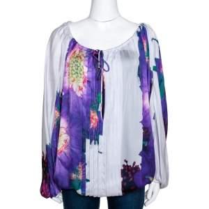 Roberto Cavalli Purple Floral Print Silk Sheer Kaftan Top M