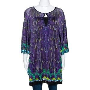 Roberto Cavalli Purple Snake Print Knit Belted Kaftan Top M