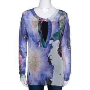 Roberto Cavalli Blue Printed Lurex Knit Sheer Top M