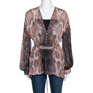 Roberto Cavalli Multicolor Animal Print Silk Embellished Sheer Blouse S