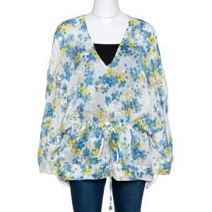 Roberto Cavalli Blue & White Floral Print Silk Sheer Kaftan Top M