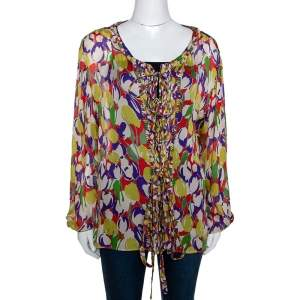 Roberto Cavalli Multicolor Tulip Print Silk Sheer Blouse M