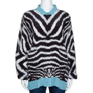 Roberto Cavalli Monochrome Stripe Print Silk Dolman Sleeve Blouse L