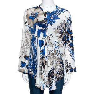 Roberto Cavalli Blue Leaf Print Silk Button Front Blouse L
