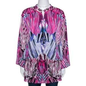 Robert Cavalli Pink Printed Stretch Silk Tunic Top M