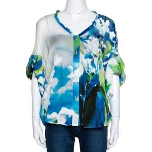Roberto Cavalli Blue Printed Silk Gathered Sleeve Sheer Blouse M
