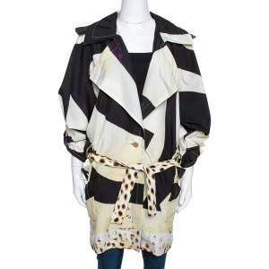 Roberto Cavalli Cream Printed Belted Trench Coat S