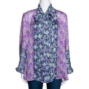 Roberto Cavalli Purple Floral Print Silk Sheer Blouse L