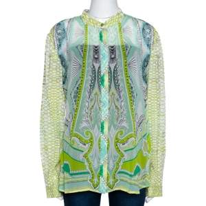 Roberto Cavalli Light Green Printed Silk Sheer Long Sleeve Shirt L
