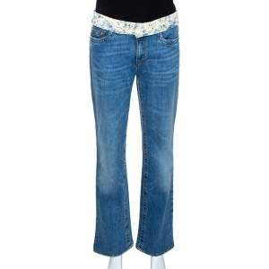 Roberto Cavalli Blue Denim & Silk Waist Trim Detail Straight Leg Jeans L