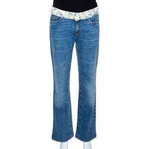 Roberto Cavalli Blue Denim & Silk Waist Trim Detail Straight Leg Jeans L